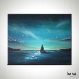 Crescent Sail Seascape Painting