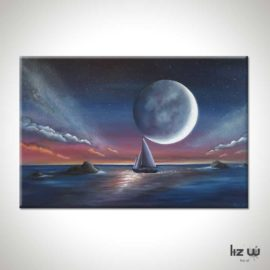 Sail Under Moonlight Seascape Painting