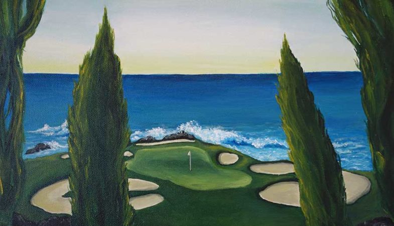 Descent-to-Pebble-Beach-Golf-Painting-close-up