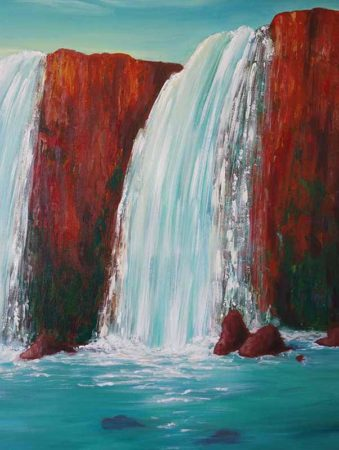 Sedona-Waterfall-Painting-Hidden-Falls-Liz-W-Waterfall-Painting-close-up-2