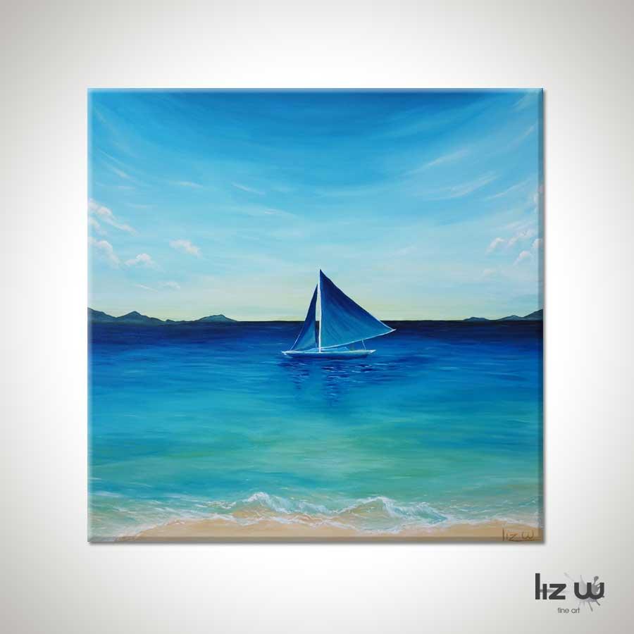 Sailing Island Waters Seascape Painting Original