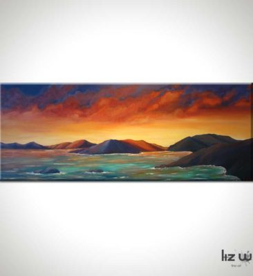 Fiery Sunset in the Virgin Islands Seascape Painting