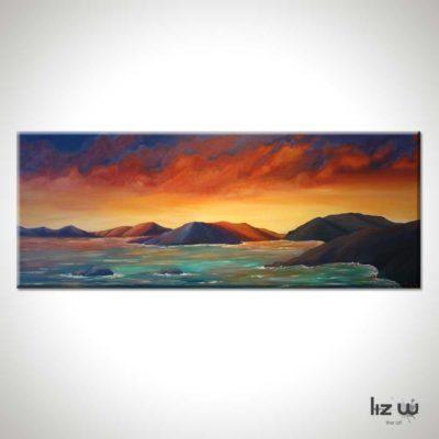 Firey-Sunset-in-the-Virgin-Islands-Liz-W-Seascape-Painting
