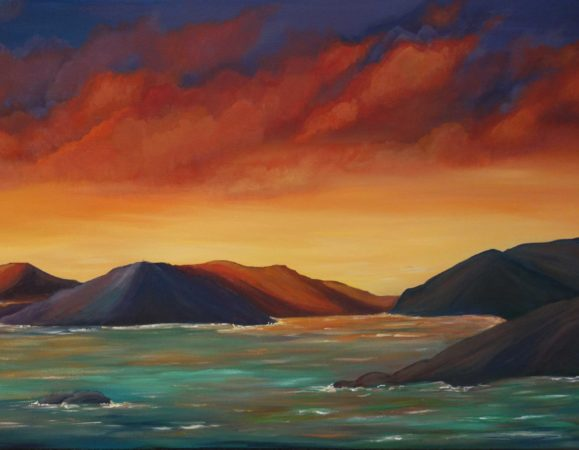 Firey-Sunset-in-the-Virgin-Islands-Painting-close-up