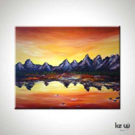 Sunset Over Grand Tetons Landscape Painting