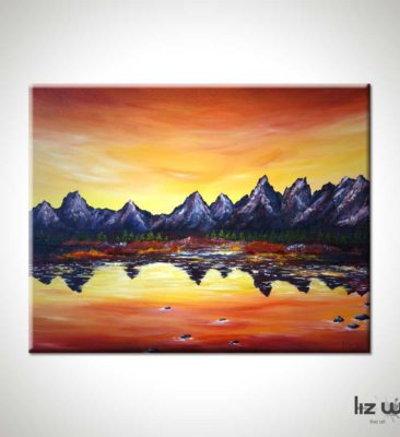 Sunset Over Grand Tetons Landscape Painting