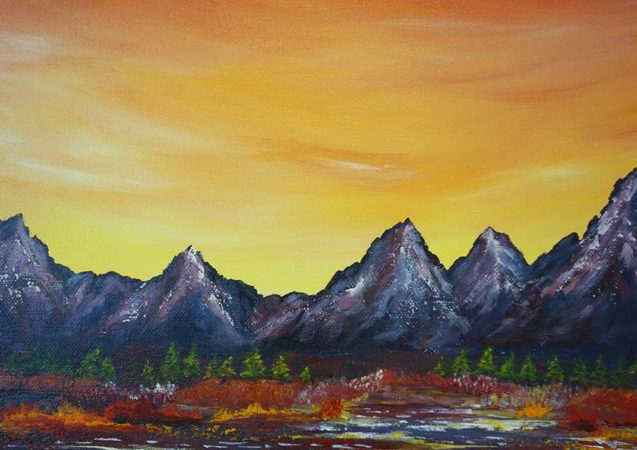 Sunset-Over-Grand-Tetons-Painting-close-up-2