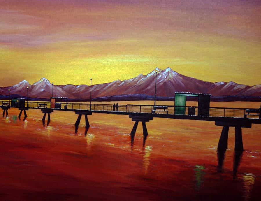 An Engagement At The Edmonds Pier Painting Liz W Art Gallery