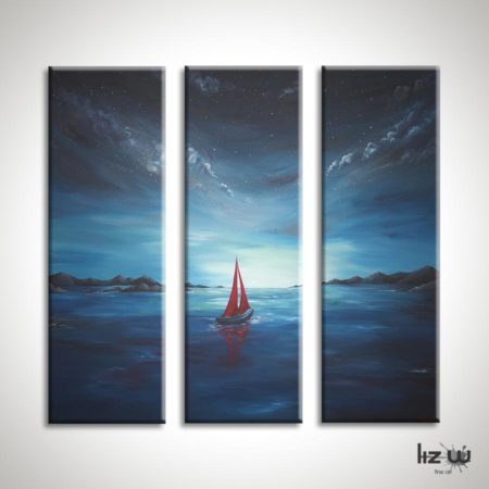 Twilight-Red-Sailboat-Painting-Liz-W