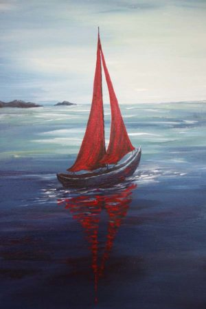 Twilight-Red-Sailboat-Painting-detail