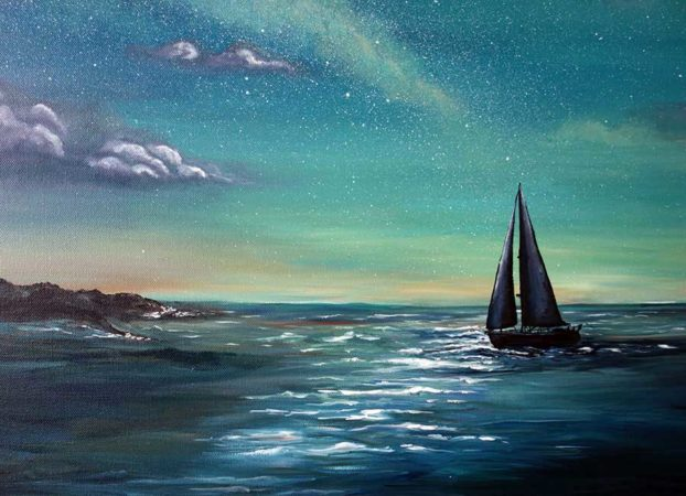 Crescent-Sail-Moon-Sailboat-Painting-close-up-2