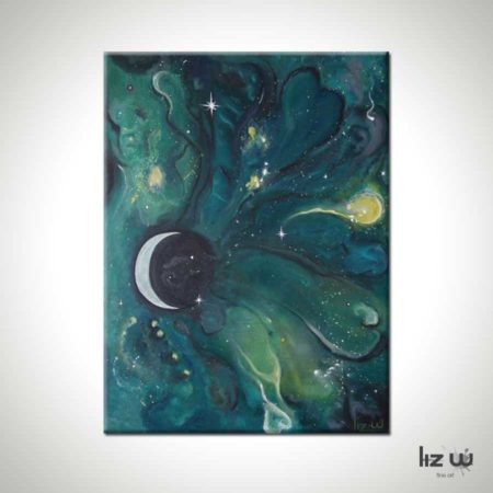 Tye's-Night-Sky-Crescent Moon-Painting