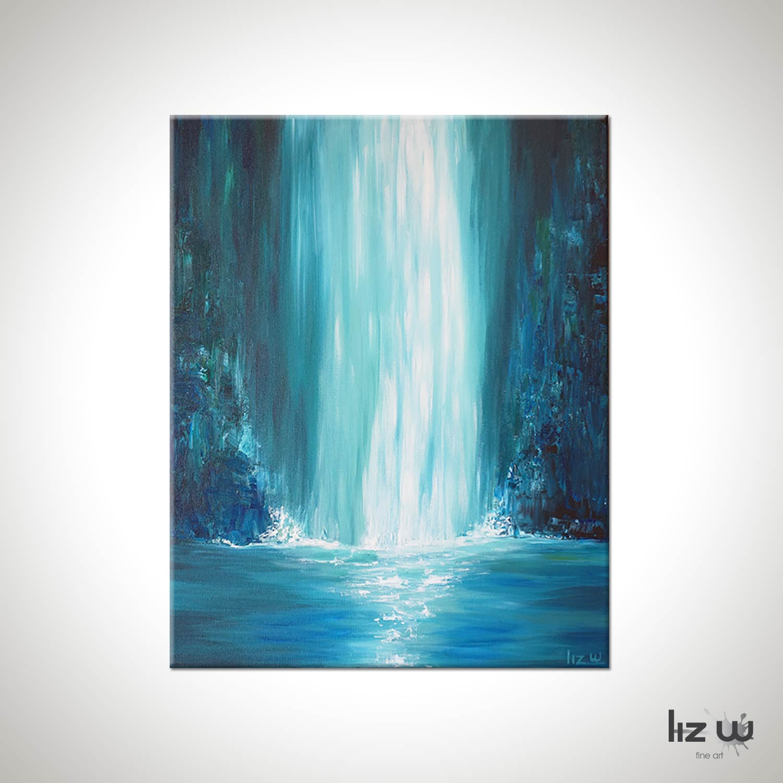 Blue Falls Waterfall Painting Liz W Fine Art