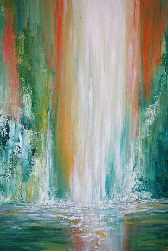Maui Falls Waterfall Painting Liz W Fine Art