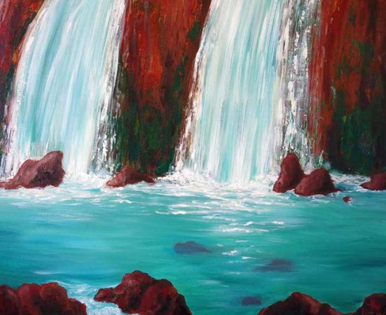 Sedona-Waterfall-Painting-Hidden-Falls-Liz-W-Waterfall-Painting-close-up