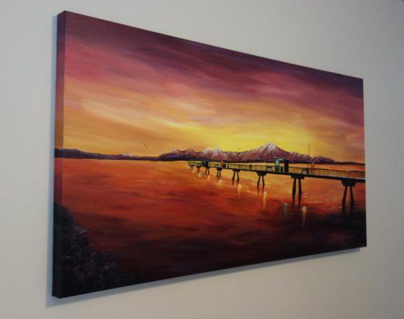Edmonds Sea Painting-an-engagement-at-the-edmonds-pier-liz-w-seascape-painting-side