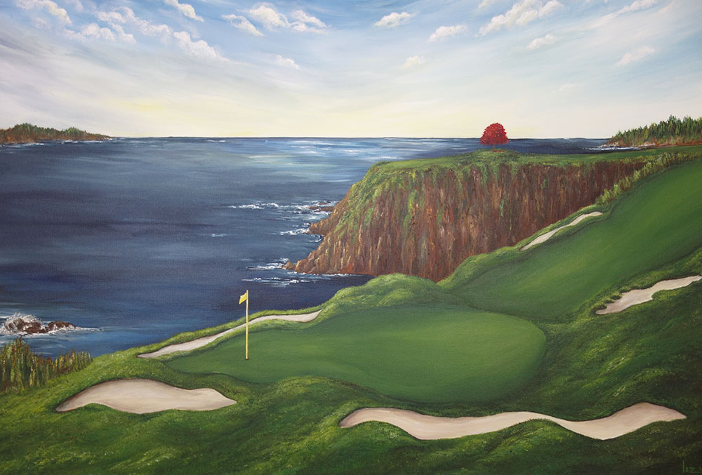 8th Hole Pebble Beach Golf Painting Liz W Fine Art