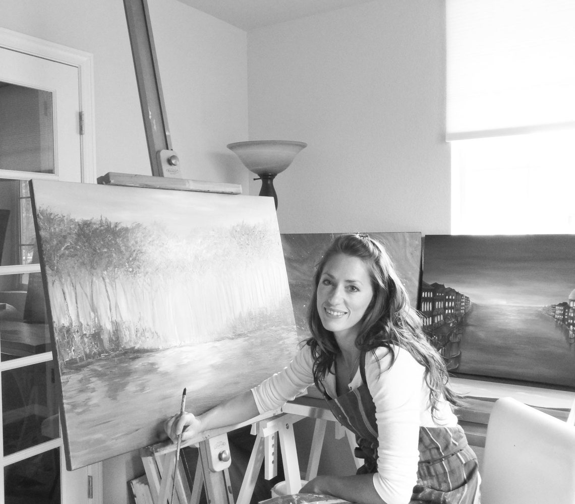 Liz Whaley Working Studio-BW