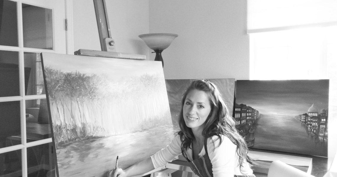 Liz Whaley Working Studio-BW