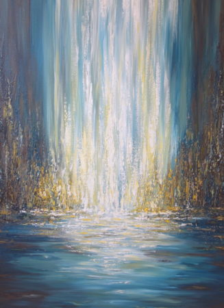 Golden Falls Abstract painting Liz W-detail